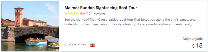 Malmö Boat Tour cost